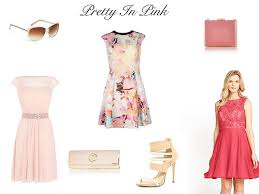 most requested wedding guest looks style me curvy Wedding Guest Dresses Ted Baker sunglasses next \u20ac19 £15 ; multicoloured dress ted baker sale \u20ac123 £98 sizes 6 16, box pink clutch river island \u20ac40 £32 ; pale pink dress coast sizes Wedding Dresses De Charro