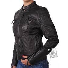 las black leather biker jacket tamana loading zoom