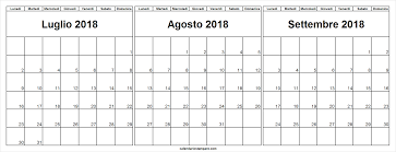 Tre Mesi Calendario Luglio Agosto Settembre 2018 Calendario Di 12 Mesi