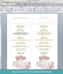 pages menu template red poppy menu template download print