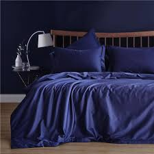 dark blue solid color pillowcase duvet cover sets 100 60 long staple cotton soft bedlinen usa queen king size bedding set duvets bedding collections from