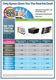 Printer Ink Price Comparison Chart Epson Printing Cost Comparison Charts Sitex 2013 Price List