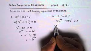 factor to solve polynomial equations with radical solutions