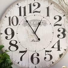 fresh large white wall clock vintage look humble home tile mirror bathroom art uk decor frame letter