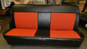 seat cover top and bottom only cover black regular vinyl roll pleat insert orange and black houndstooth cloth upholstery fits