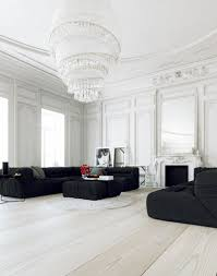 Monochrome Living Room Decorating Black Sofa Deck Lamp Black Curtain Hardwood Floor Black Modern