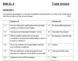 Gr. 8 EMS – Trade Unions Worksheet / Class test – Teacha!