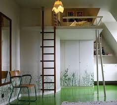 small loft design with bed and wood ladder