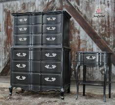 Black French Provincial High Boy Dresser Set For Sale – FunCycled