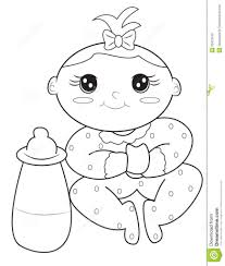 Coloring Baby Girl Coloring Page Stock Illustration Of Book