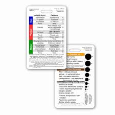 Glasgow Coma Scale Assessment Chart Glasgow Coma Scale Gcs Vertical Reference Badge Id Card 1 Card