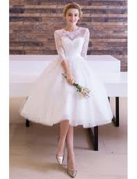 vintage tea length wedding dress a line scoop neck tulle with