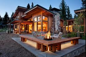 architecture elegante mountain house plan with medium outdoor living room plus fireplace and wooden home