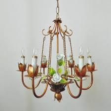 vintage tole chandelier tole chandelier bird cage porcelain roses gilt metal vintage mid century modern birdcage