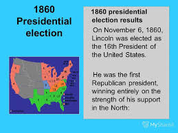 Image result for 1860, Abraham Lincoln is elected the 16th president of the United States