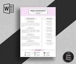 Creative Resume Template In Ms Word Marilyn Monroe Creative Resume Templates