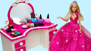 how to make play doh princess barbie doll makeup cosmetics set dressing table for kids