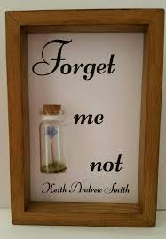 a single forget me not flower enclosed in a small gl bottle works perfectly as a leaving gift or as a touching remembrance