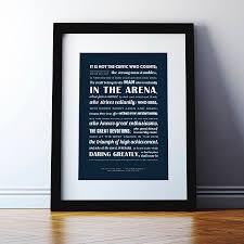 Theodore Roosevelt Man In The Arena Typographic Print