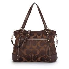 WhatSheLove Coach Legacy Logo In Signature Large Coffee Totes BPG