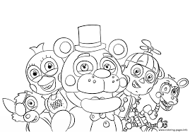 Small Picture Five Nights At Freddys All Characters Coloring Pages Printable