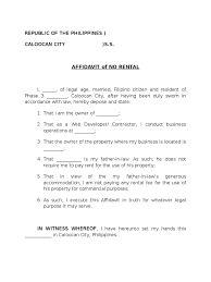 Affidavit Of No Rental Sample