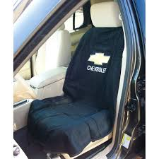 seat armour seat cover black with bowtie logo and chevrolet lettering chevrolet silverado