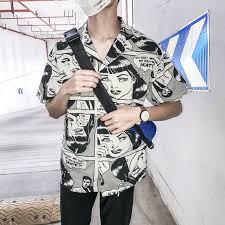 Harajuku Printed Hawaii Style <b>Men's Shirt 2018 Summer</b> Beach ...