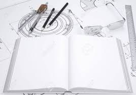 book gles ruler p and pencil lie on the drawing 3d render stock