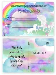 Rainbow Unicorn Baby Shower Invitations 20 Count 4x6 Inch Postcards
