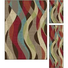 teal brown rug dco1013 set3 3 piece set brown red and teal blue area rug deco