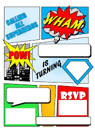 superheroes party invites make your own comic book printable superhero comic book party