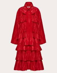 nylon coat with ruffles
