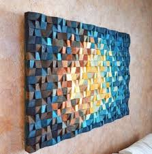 wood wall art in navy blue yellow