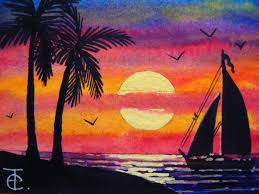 aceo watercolor painting how to paint ocean sunset with palm trees landscape seascape nature you