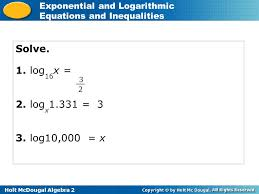 holt mcdougal algebra 2 exponential and logarithmic equations