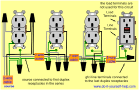 wiring diagrams multiple receptacle outlets do it yourself help com wiring diagram for a gfci and multiple duplex receptacles