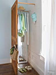 install a freestanding door in a corner and brace it with wood strips then it can be a perfect storage space diy closet ideas 04