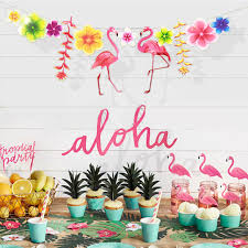 Paper Flag Hawaiian Tropical Flamingo Leaves Banner Flower Garland Bunting  Birthday Baby Shower Summer Party Decoration