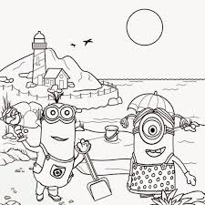 Minions Beach Tropical Sands Projects Kids Minion Coloring Pages