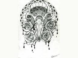 Deer Skull And Flower Drawing Flowers Healthy