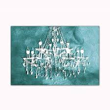 teal chandelier wall decoration digital art image printed on 24 x36 canvas stretched and