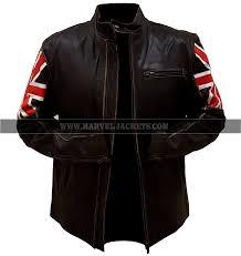 vintage uk flag biker antique brown cafe racer motorcycle real leather jacket