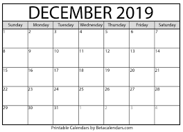 Blank Dec 2020 Calendar Blank December 2019 Calendar Printable Beta Calendars