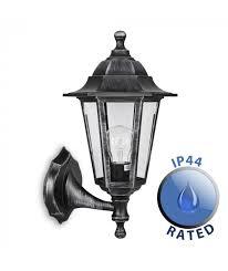 ip44 black silver outdoor up down wall lantern polypropylene
