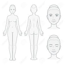 Body Chart Female Body And Face Chart Front And Back View With Head Close