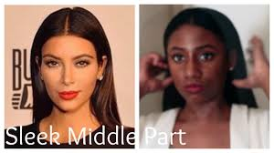Middle Split Hair Style kim kardashian sleek behind the ear middle part ft betterlength 7572 by wearticles.com