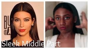 Middle Split Hair Style kim kardashian sleek behind the ear middle part ft betterlength 7572 by stevesalt.us
