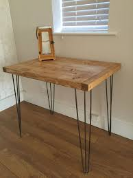 rustic pine kitchen dining side table with metal hairpin legs