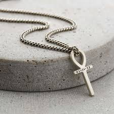 silver ankh chain necklace